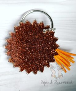 Copper glitter keychain with sunflower yellow orange tassel